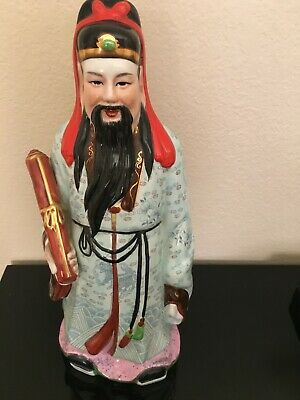 Chinese Porcelain Statue Fu god of status, Antique Vintage ~17""