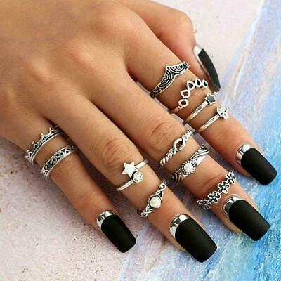 11pcs Silver/Gold Boho Stack Plain Above Knuckle Ring Finger Set Rings Midi I6M9