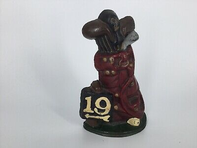 "Cast Iron 19th Hole Bookend End 7.25"" Tall.  Great Gift For A Golfer !!! 2lbs"