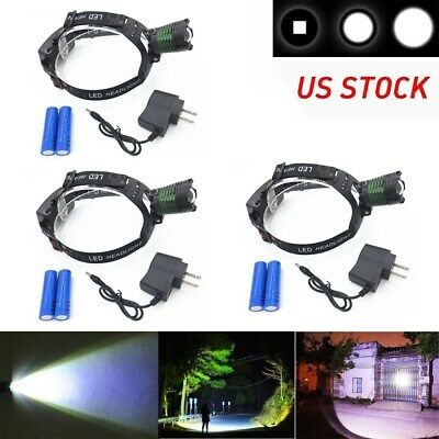 3Set Zoomable 900000Lumen LED Headlamp Powerful Headlight Rechargeable+Batt+Char