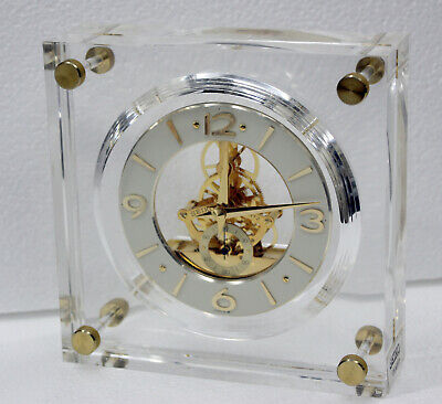 Vintage Seiko Lucite Skeleton Movement Gold Brass Mantle Clock QAW105G JAPAN