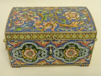Antique Russian silver 88 cloisonne shaded enamel box by Feodor Ruckert
