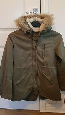 Zara Girls 11 - 12 Years Parka Coat Jacket Winter Faux Fur Hood khaki