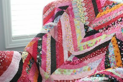 SCRAPPY STRIP QUILT ~ New Handmade Baby Girl Quilt