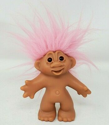 """DAM 2005 Troll Light Pink Hair Amber Eyes Nude Open Mouth Cute 5"""" Doll Loose EUC"""