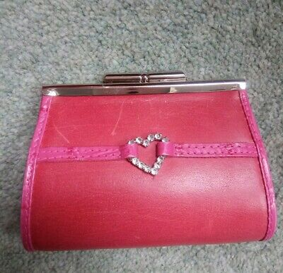 Gorgeous Beverley Hills Polo Club Pink Leather Purse Diamante Heart