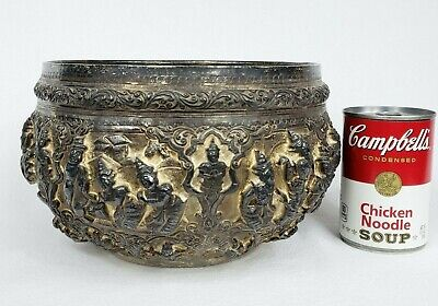 HUGE Antique Burmese Thabeik Repoussé Silver bowl 1052 GRAMS