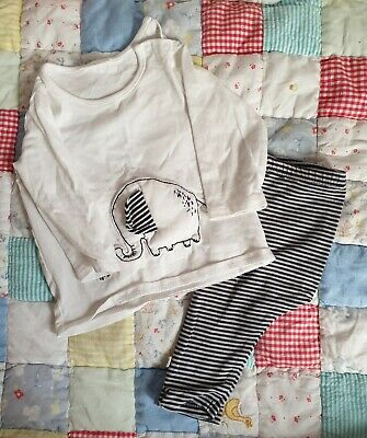 Next Baby Boys white navy stripe outfit Elephant 3-6 Months