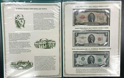 Two Dollar Note Folio ~ 1928C 1953A 1976 & 2003 Uncut Sheet Of 4 ~ NICE SET