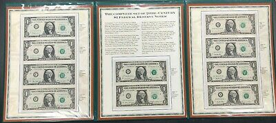 The Complete Set Of 20th Century $1 Federal Reserve Notes (10 Notes)  PCS