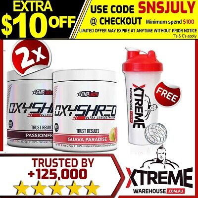 2X Oxyshred By Ehplabs 60 Srv Thermogenic Fat Burning Weight Loss Twin Pack