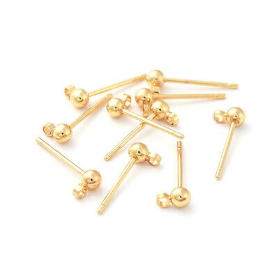 10pcs Brass Ball Earring Posts w/ Hang Loop Real 18K Gold Plated Studs 15x5mm