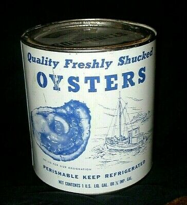 Vintage S T Moore & Co. Hebron, Md Oyster One Gallon Tin Can Md 414