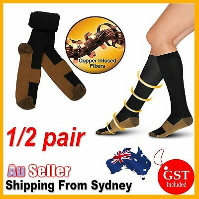 1/2 Pairs Miracle Copper Compression Socks 20-30mmHg Graduated Support Men Women