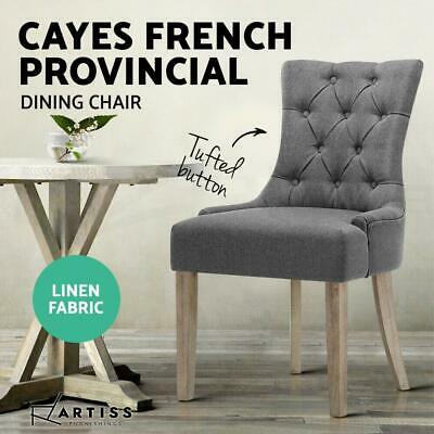 Artiss 1x Dining Chairs Fabric French Provincial Chair Wooden Kitchen Cafe