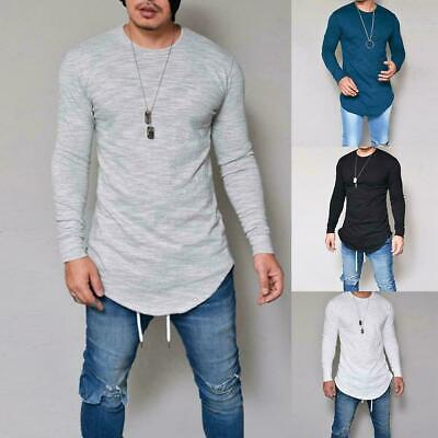 Mens Long Sleeve Casual T Shirts Slim Pullover Henley Basic Blouse Loose To U8J3