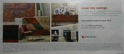 Two Overstock Coupons Save 15% off Now & Save 15% Later Expire 2/29/20 & 3/31/20