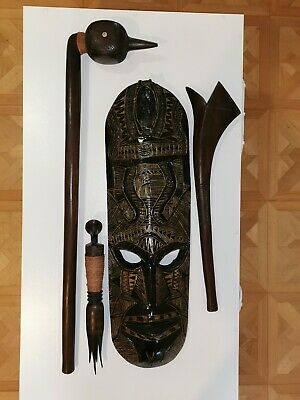 Wooden Mask, Clubs and Cannibal fork set from Fiji