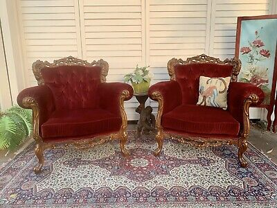 Pair Vintage French Wingback Chesterfield Lounge ArmChair~Chair- Velvet Sofa
