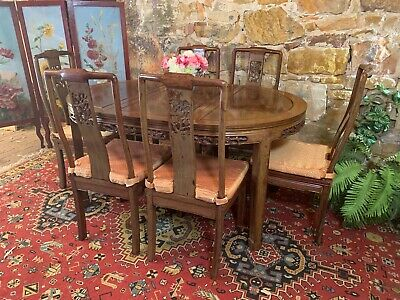 7Piece~Vintage Rosewood Dining Suite~6x Chairs+Extension Table~Chinese