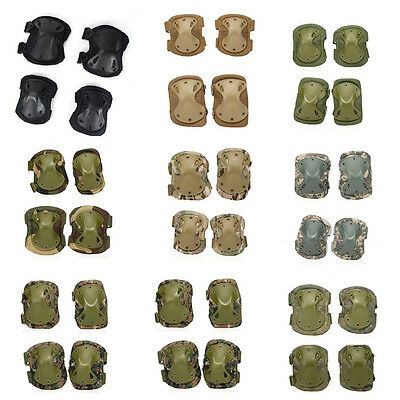 Airsoft Tactical Combat Protective Knee Elbow Pad Skate Knee Pads Set Adjustable