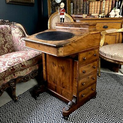 Victorian walnut Davenport desk with leather writing surface and inlaid detail