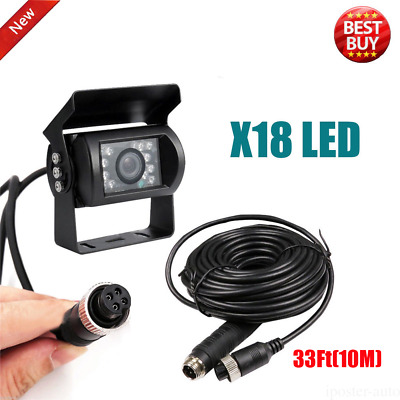 4Pin Connector Rear View CCTV IR Camera For RV Trailer Truck W/ 33Ft Video Cable