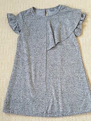 NEXT Girls Silver Grey Sequinned Fully Lined Dress Age 7