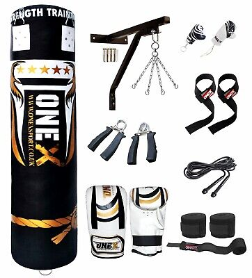 New 17 Piece Boxing Set 5ft Filled Heavy Gloves,Chains,Bracket,Punch Bag Kick