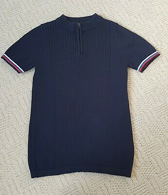 Next Boys Navy Blue Knitted Polo Top Age 9 Years