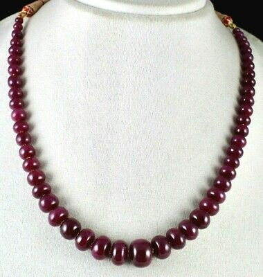 Top Natural Untreated Ruby Beads Round 1L 407 Cts Gemstone Statement Necklace