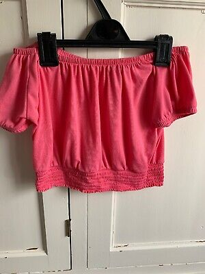 Girls River Island Age 9 To 10 Pink Bardo Crop Top Worn Once