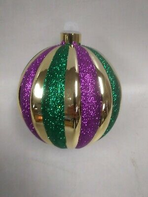 Beautiful Large Sparkled Mardi Gras Ornament Ball
