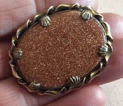 Fabulous Victorian Oval Aventurine/Goldstone Brooch. Pinchbeck Claw Setting