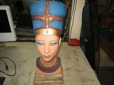 "Queen Nefertiti Bust Egyptian Statue Royal Sculpture Ruler of the Nile 19"" Tall"