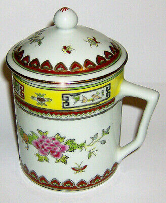 HAND painted Chinese LIDDED MUG ( Floral / Butterfly with gold trim )