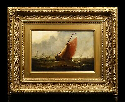 Dutch Sailing Boats   Signed 19th Century Marine Oil Painting   Antique Frame