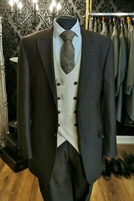 MJ-154 MENS THREE PIECE BROWN WEDDING//FORMAL PINSTRIPE SUIT 50/% CLEARANCE PRICE