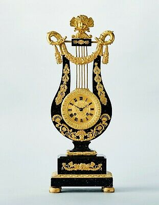 Antique early 19C Lyre Clock Ormolu Gilt Bronze & Porphyry Wood from Collection