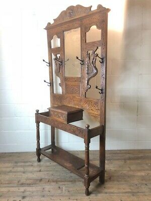 Antique Carved Oak Gothic Style Hat and Coat Hall Stand - Delivery Available