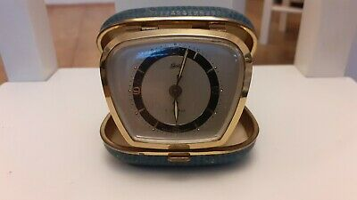 West German Schatz 7 jewels travel alarm clock working