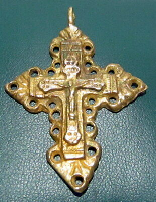 Outstanding Post Medieval Silver Cross Pendant, Gold Plated, Crucifixion # 776