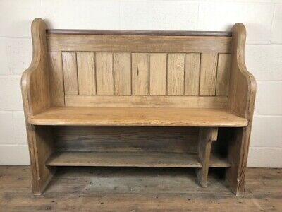 4th Stripped Pitch Pine Chapel Pew with Blue Enamel Numbers - Delivery Available