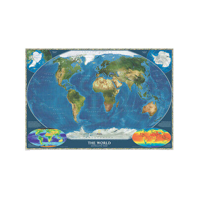 Satellite Map Of the World Large Poster Decor Non-woven Fabric