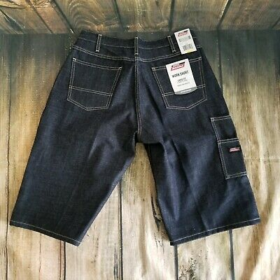 NWT Dickies Mens Size 32 Denim Work Jean Shorts Loose Fit Double Tool Pockets