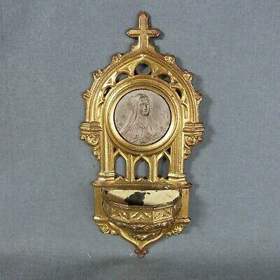 Gothic French Holy Water Font Metal Stoup saint Therese 19th century