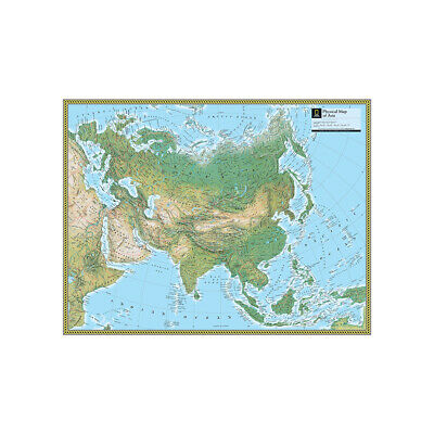 The Physical Map of Asia Large Poster Decor Non-woven Fabric