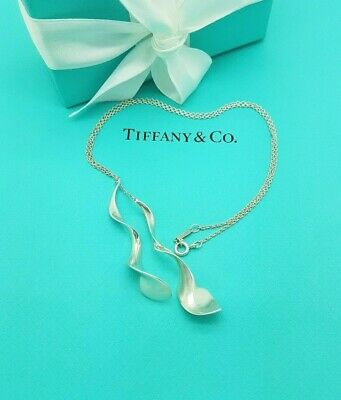 Tiffany & Co Sterling Silver Frank Gehry Double Orchid Lariat Pendant Necklace