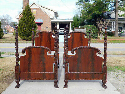 Gorgeous Mahogany Acanthus Carved Federal Empire Twin Beds 1890