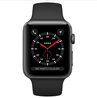 AppleWatch Series 3 (GPS) 42mm Space Gray Aluminum Case with Black Sport...